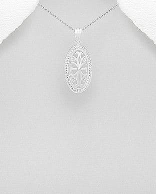 925 Sterling Silver Oval Open Work Grill Pendant